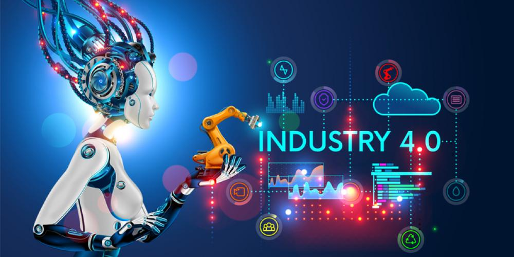 Industry 4.0 image featuring robotic arm